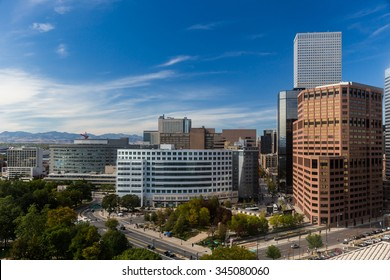 Downtown Denver With Close Up of Skyscrapers and Blue Summer Sky