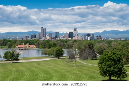 Downtown Denver, Colorado, the Mile High City, from City Park. Aerial.