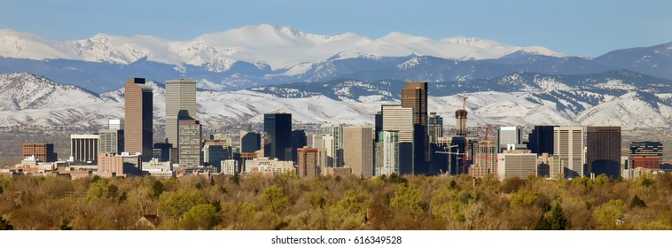 Downtown of Denver, Colorado with mountains in the background. To see similar photos, please check my DENVER, CO folder
