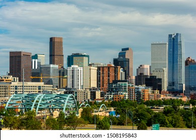 Downtown Denver, Colorado Skyscrapers with Confluence Park and the Speer Blvd. Platte River Bridges in the Foreground