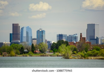 Downtown Denver, Colorado from Sloan Lake on a Sunny day