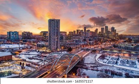 Downtown Denver, Colorado, USA Downtown Drone Skyline Aerial.