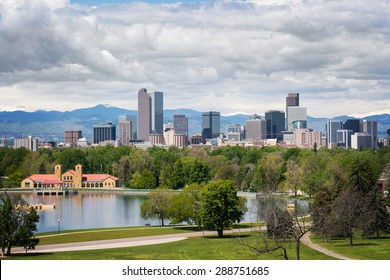 Downtown Denver, as seen from City Park, on a cloudy day.