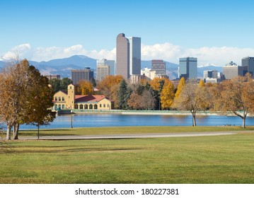 Downtown Denver Skyline, on a bright autumn morning, with City Park in the foreground.
