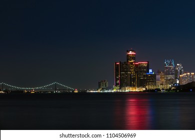 Downtown Detroit in Michigan Night Skyline