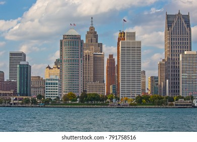 Downtown Detroit shot from a small park on the Canadian side of the border on a warmer than usual mid October day.