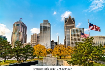 Downtown Detroit skyline from Hart Plaza - Michigan, United States