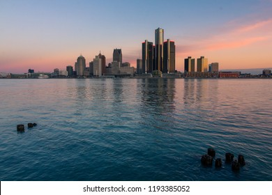 Downtown Detroit skyline from Windsor riverfront at dawn (ON, Canada)