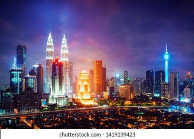 Downtown district Kuala Lumpur skyline, Kuala Lumpur Malaysia