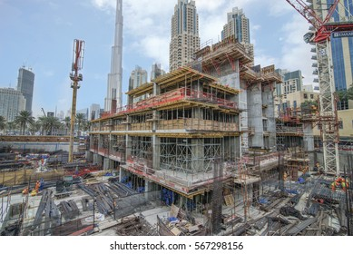 DOWNTOWN, DUBAI.  22.1.2017.  Construction on Emaar Boulevard in Dubai's Downtown district continues into 2017.