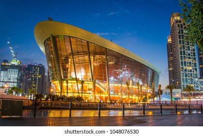DownTown, Dubai, UAE,  1/19/2018,  Located in Downtown Dubai, Dubai Opera is the radiant centre of culture and arts in Dubai and the shining pearl of The Opera District.