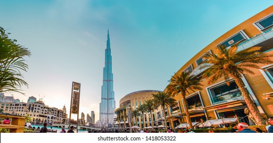 Downtown, Dubai, U.A.E, 3/16/2018, Evening Shot from World tallest Building Burj khalifa world largest shopping mall Dubai Mall  Water Fountain, famous tourist place in Middle East