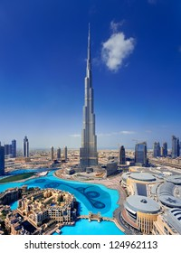 DOWNTOWN DUBAI, UAE - MAY 7 - A skyline view Dubai Mall, Dubai Fountain and the Burj Khalifa, the tallest skyscraper in the world, at 829.8 m.   on May 7, 2010.