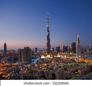 DOWNTOWN DUBAI, UAE - OCT 15: Skyline view of Downtown Dubai showing the Burj Khalifa and Dubai Fountain on Oct 15, 2010 in Dubai, UAE. The Burj Khalifa, the tallest skyscraper in the world at 829.8m