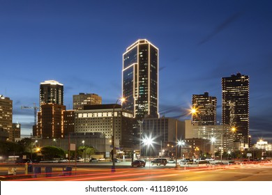 Downtown of Fort Worth illuminated at night. Texas, United States of America