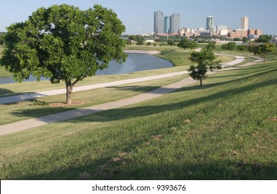 Downtown Fort Worth, Texas as seen from a city park with the Trinity River in view
