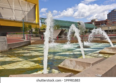Downtown fountain and park in Tacoma Washington.