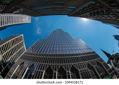 Downtown frame buildings with blue sky