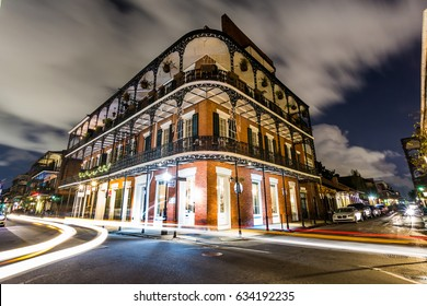 Downtown French Quarters New Orleans, Louisiana at Night