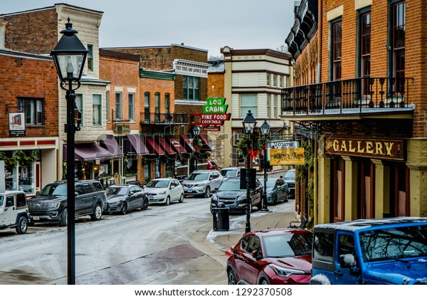 Downtown of Galena Illinois , with Christmas decorations 1.1.2019