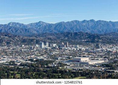 Downtown Glendale and the San Gabriel Mountains in Los Angeles County, California.