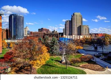 Downtown Grand Rapids Michigan in the fall