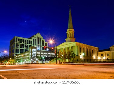 Downtown Greenville South Carolina SC at Night.