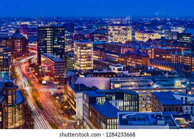Downtown Hamburg, Germany. Aerial view at dusk.