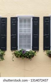 Downtown historic Charleston, South Carolina. Flower boxes, greenery, plants.
