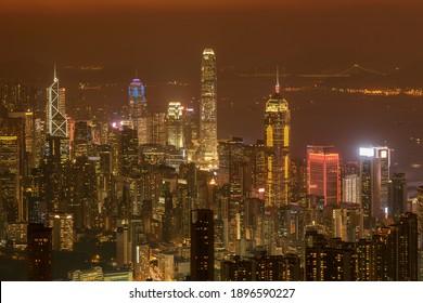 Downtown of Hong Kong city at dusk