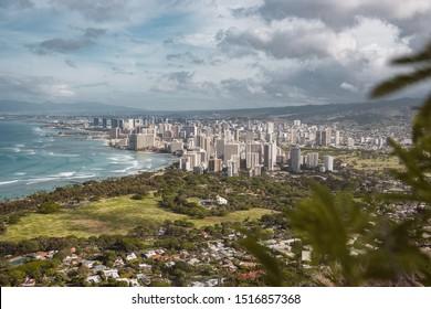 Downtown Honolulu from Diamondhead peak.