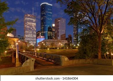 Downtown Houston from Buffalo Bayou hike and bike trail