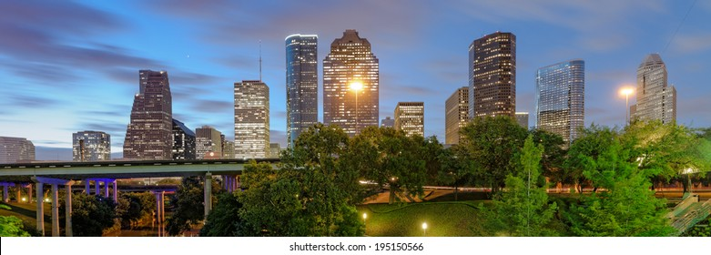 Downtown Houston Panorama from Sabine Street Bridge