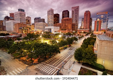 Downtown Houston Skyline at Dusk