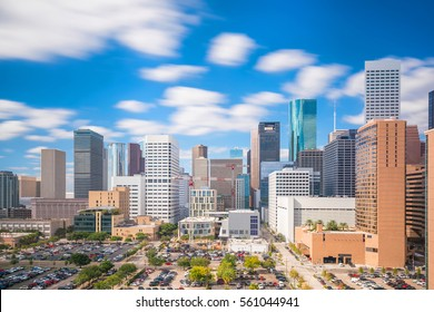 Downtown Houston skyline in Texas USA with bluesky