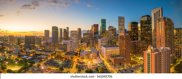 Downtown Houston skyline in Texas USA at twilight