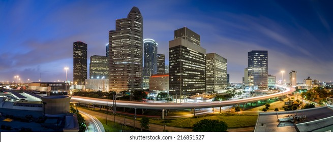 Downtown Houston sunrise. A panorama taken on a humid morning in Houston