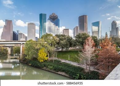 Downtown Houston, Texas over Buffalo Bayou as seen from Sabine bridge and overlook