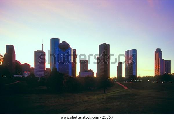 Downtown Houston, Texas at sunrise.
