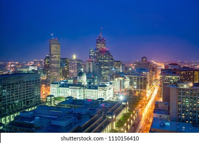 Downtown Indianapolis skyline at twilight in USA