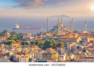 Downtown Istanbul cityscape in Turkey at sunset