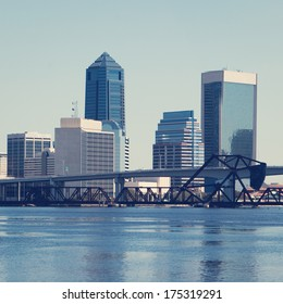 Downtown Jacksonville, Florida with retro effect.