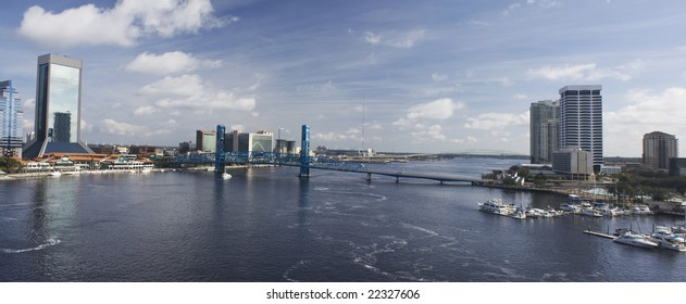downtown Jacksonville panoramic showing both the North and South Bank of the St. John's river