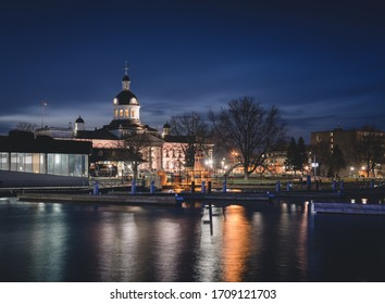 Downtown Kingston waterfront Confederation Park in spring, Ontario Canada