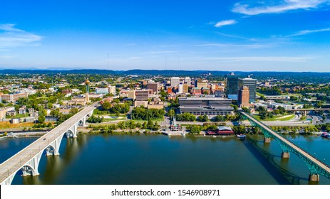 Downtown Knoxville Tennessee Drone Skyline Aerial along the Tennessee River