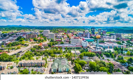 Downtown Knoxville, Tennessee, USA Skyline Aerial.