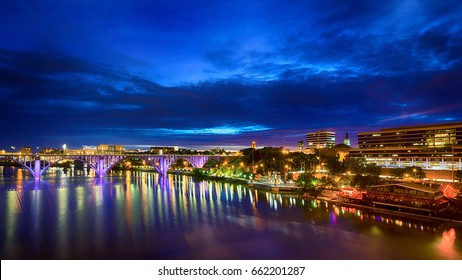 Downtown Knoxville, TN, by riverfront after sunset