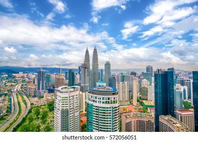 Downtown Kuala Lumpur skyline with blue sky in Malaysia