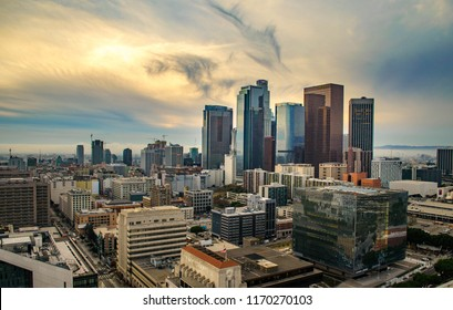 Downtown LA, California / United States - Jan. 6, 2018: Beautiful LA Skyline
