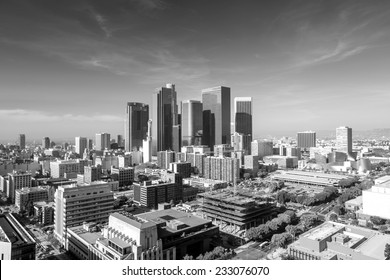 Downtown LA Los Angeles skyline cityscape California in black and white
